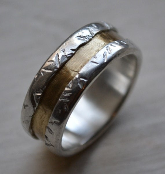 Mens Wedding Band Fine Silver And Brass Wedding By MaggiDesigns