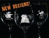 Halloween Wine Glasses - Engraved - QTY of  4