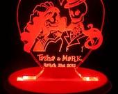 Skeleton Bride & Groom Wedding Cake Topper - Personalized - Acrylic - Light OPTION