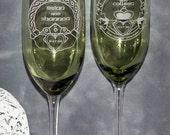 Irish Claddagh Wedding Toasting Champagne Flutes