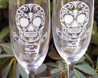 Sugar Skull Toasting Wedding Glass Flutes - Engraved & personalized