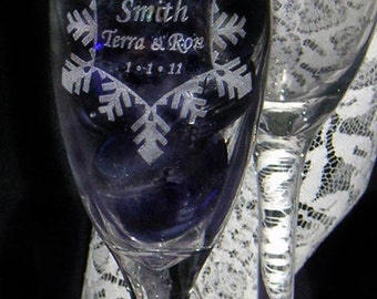 Snowflake Champagne Toasting Flutes -  SET of 2 - Personalized - Engraved