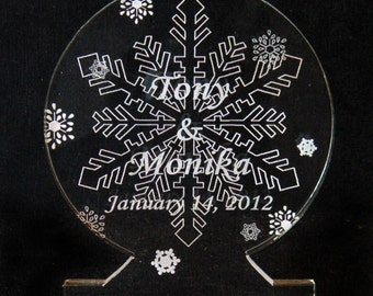 Snowflake II Wedding Cake Topper  - Engraved & Personalized - Light OPTION