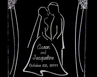 Jewish Wedding Couple Cake Topper - Engraved & Personalized - Light OPTION