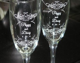 Wedding Toasting Champagne Flutes - Filigree