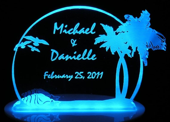 Beach Tropical Wedding Cake Topper - Engraved - Light Extra