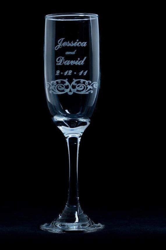 engraved wedding toasting champagne flutes vintage rd