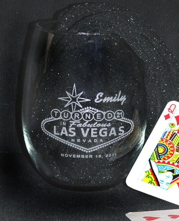 21st Birthday In Vegas Wine Glass Personalized Engraved