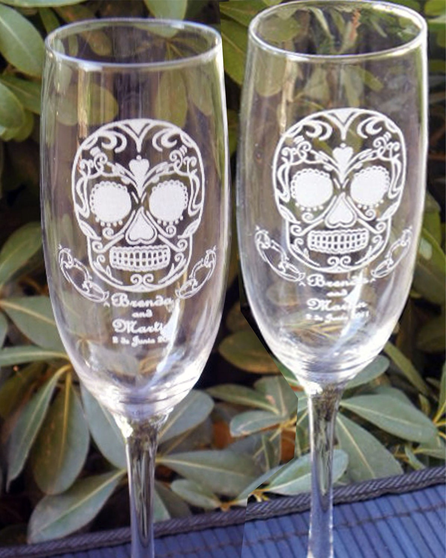 sugar skull toasting wedding glass flutes engraved
