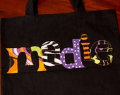 Personalized Applique Halloween Tote