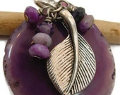 Long Purple Necklace, Agate Necklace, Leaf Necklace