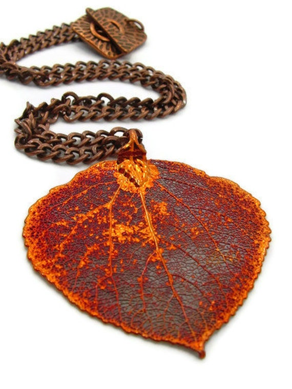 Leaf Necklace, Fall Fashion, Autumn Fashion, Orange Necklace