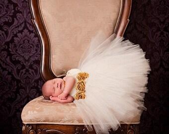 Baby Tutu, Tutu- Tutu Dress- Infant Tutu- Ivory Tutu- Tutus- Photo Prop- Dress- Flower Girl Dress- Size Available 0-24 Months