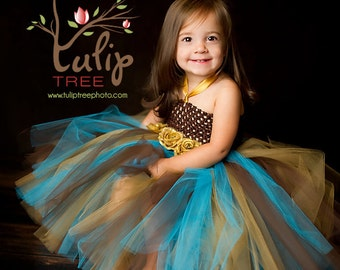 Blue/ Brown Tutu Dress, Tutu- Baby Tutu-Tutu Dress- Tutu Halter Dress, Classical Tutu, Photo Prop, Available In Size 0-24 Months.