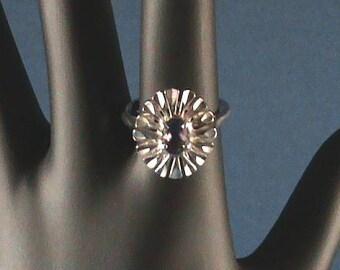 0002  Sterling-Amethyst  Ballerina Style Ring
