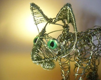 Life Size Abstract Aluminium Wire Cat Sculpture OOAK - UK SELLER