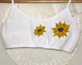 Bralette, hand painted with sunflowers