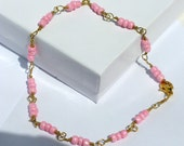 Baby Pink Glass Bead Anklet