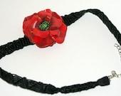Red polymer clay poppy flower macrame necklace
