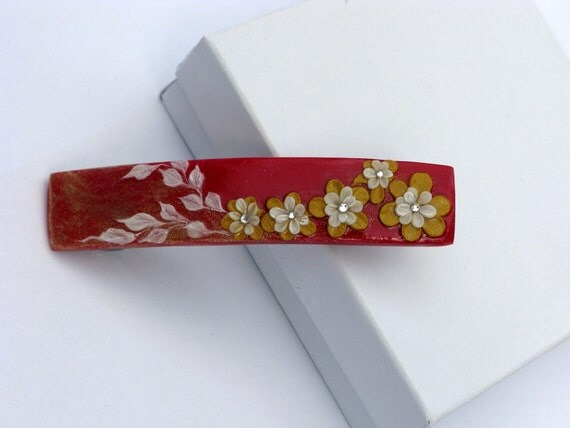 Red and gold hair barrette