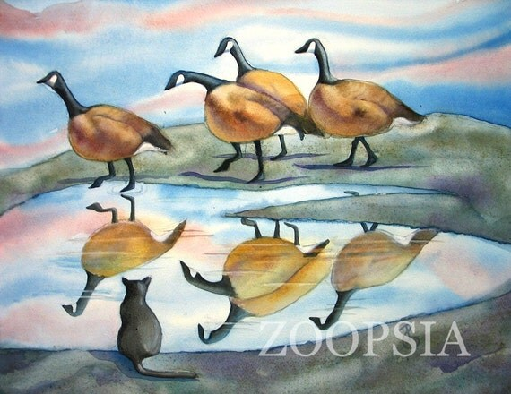 Greeting Card with Geese