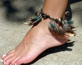 "Feather Ankle  Bracelet,   ""Into the Woods"""