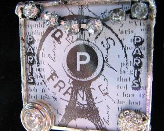 Necklace:Paris Love, Reversible Soldered Glass Pendant Necklace SALE