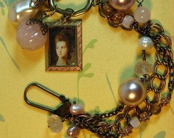 Bracelet Vintage Assemblage Pearl Crystal Rose Quartz Victorian