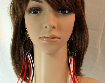 Boho Red And White Feather Earrings. Clearance Sale.