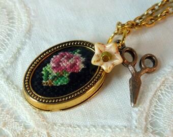 Vintage Original Petit Point Flower Bouquet Cameo Necklace