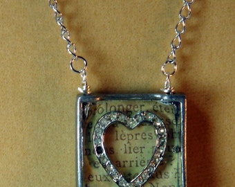 Pendant,  French Script,  The Heart Of France