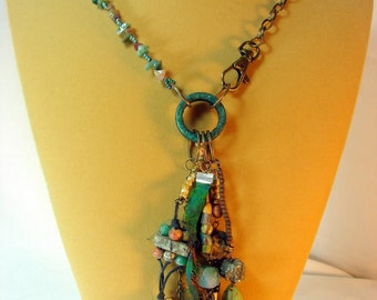 NECKLACE. Tribal Assemblage Artisan Necklace. SALE