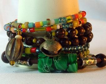 African Beaded Bangle, Tribal, Stacking Bangles Set,  BOHO , Clearance Sale