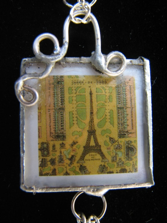 Necklace, Eiffel Tower, Reversible Soldered Glass Pendant Necklace SALE