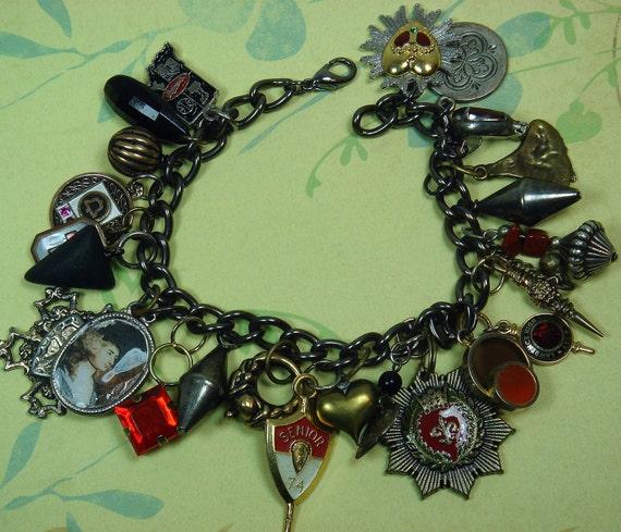 French Charm Bracelet, Vintage Charms
