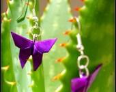 Purple origami butterfly origami earrings