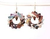 OOAK Dangle earrings Upcycled origami paper earrings