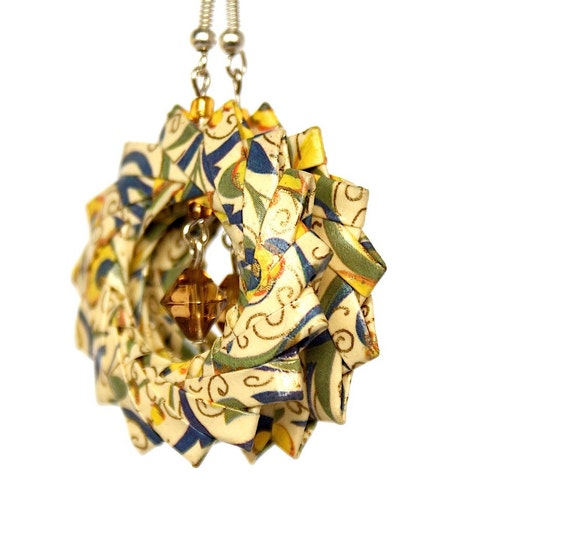 Paper jewelry gold yellow origami earrings