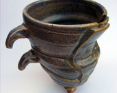 Two-Flapped Gray Blue Mug with Finger Handles
