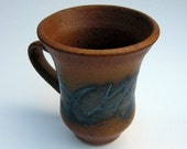 Rust Orange and Black Sgraffito Mug