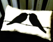 Decorative Art Pillow.. Chickadee Birds on a wire. Pick your Color //HAND-PAINTED/signed...made to order