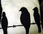 Decorative Art Pillow Birds on a wire.. Home decor HAND-PAINTED Made to order