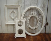 Ornate picture frame collection -  5  french country romantic victorian cottage white upcycled frames