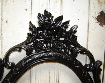 Large Oval Mirror Ornate Black French Country Romantic Victorian Framed Mirror