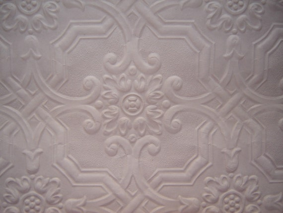 Ceiling Tile Wallpaper Paintable Embossed  1 yd