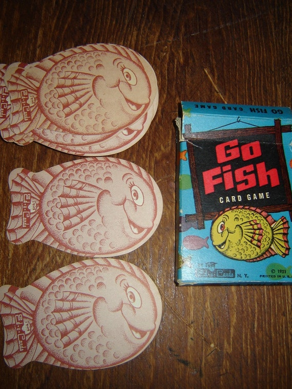 Vintage fish shaped cards go fish game by wendysvintageshop for Go fish cards