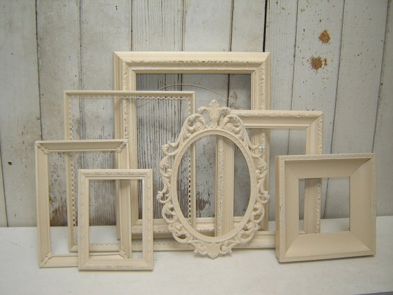 Painted picture frames -  7 Silk Ivory ornate  french country cottage upcycled frame collection