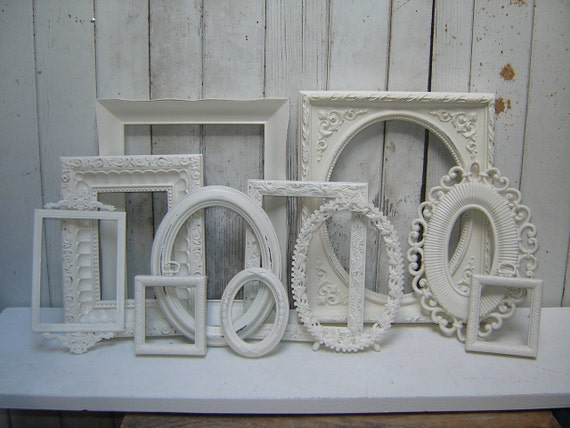 Reserved for EZacharuk   - ornate picture frames - 11 cottage white frame collection