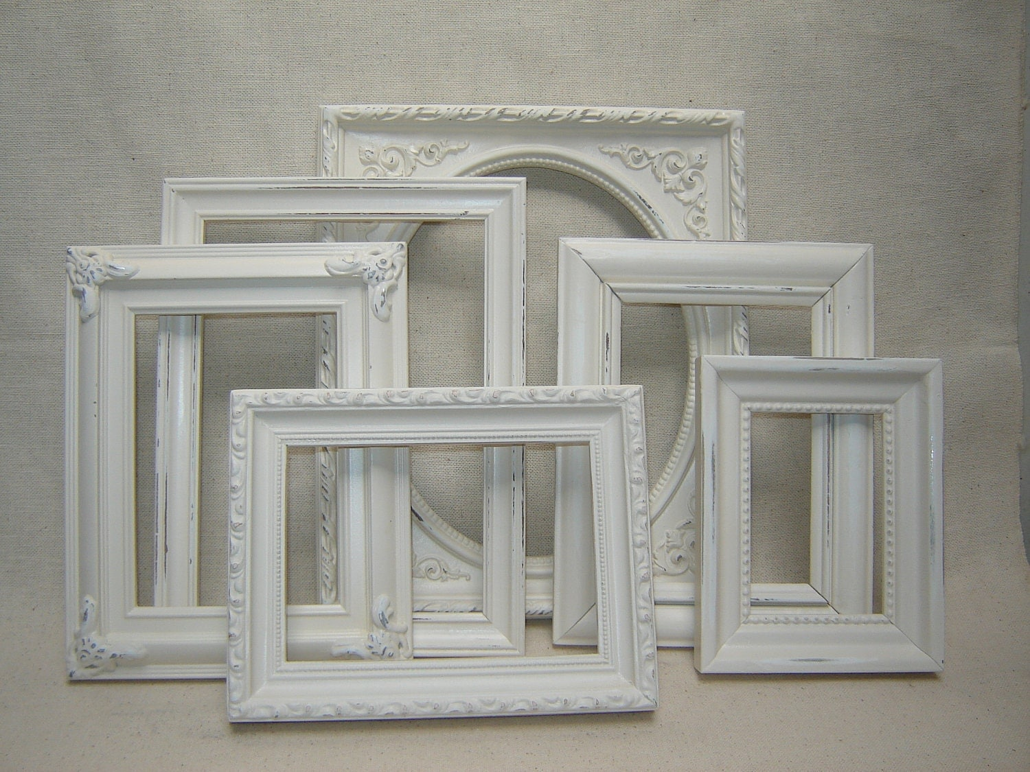 Upcycled french victorian romantic cottage wedding picture - White wooden picture frames ...
