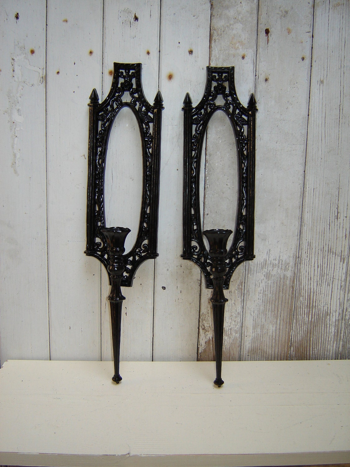 ornate Gothic wall candle sconces Black pair